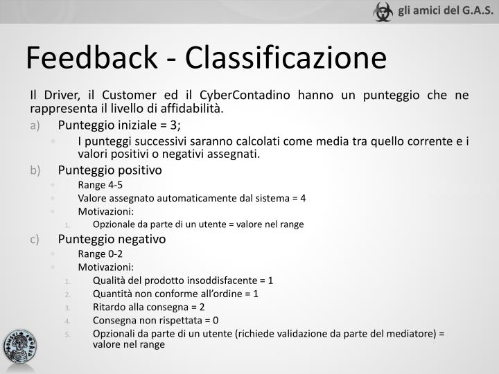 Feedback - Classificazione