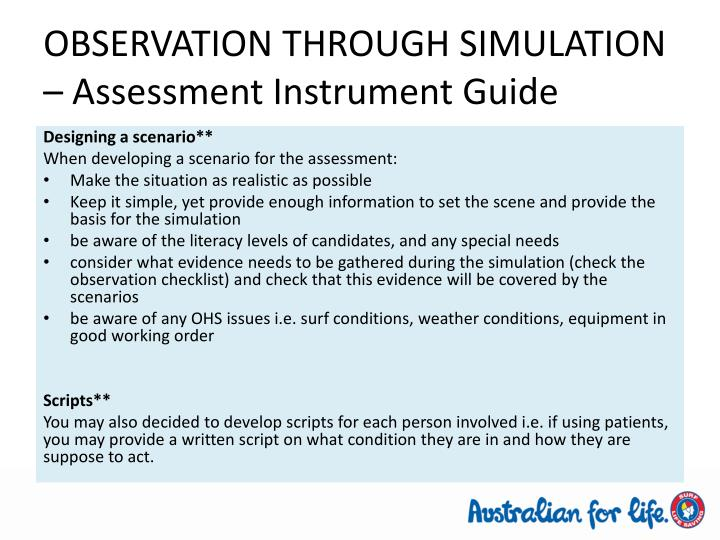 OBSERVATION THROUGH SIMULATION – Assessment Instrument Guide