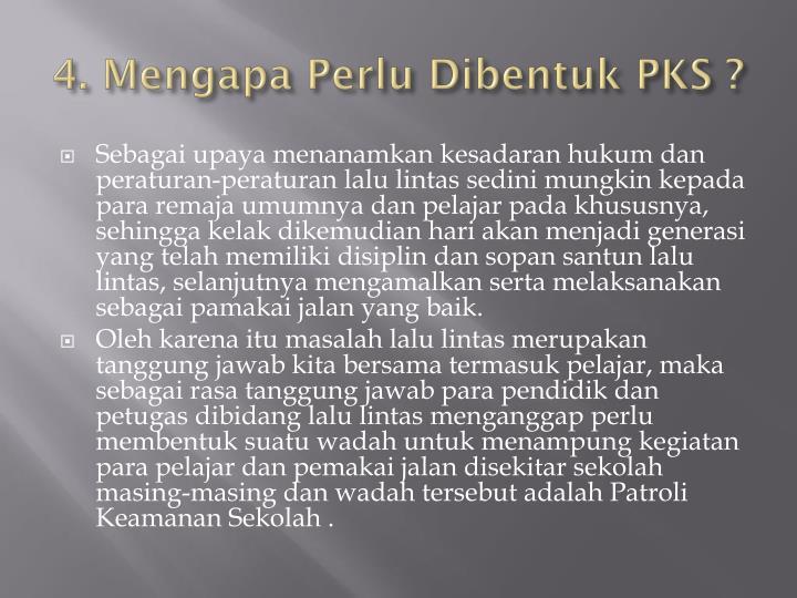 4. Mengapa Perlu Dibentuk PKS ?