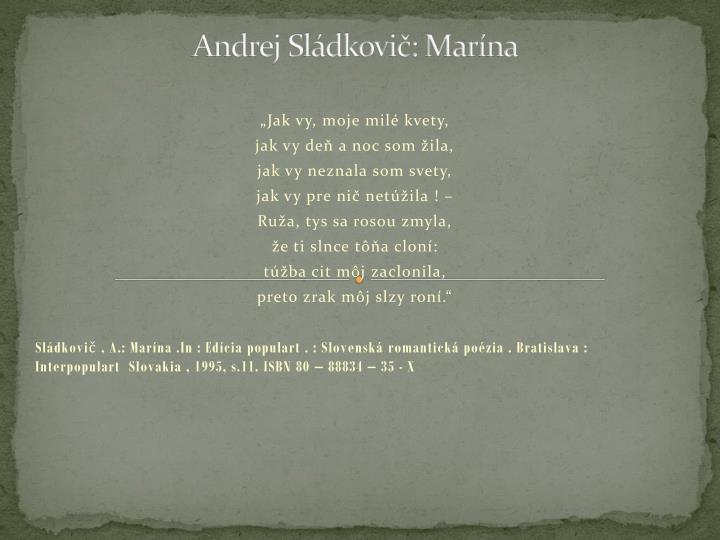 Andrej Sládkovič: Marína