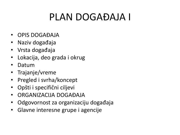 PLAN DOGAĐAJA I