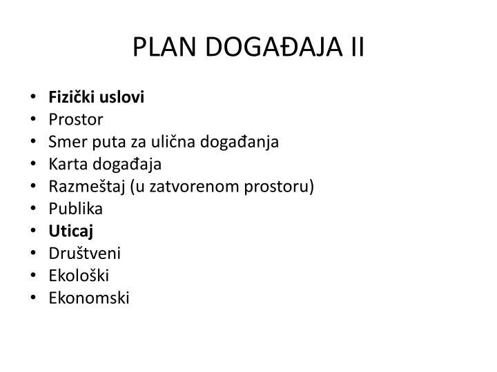 PLAN DOGAĐAJA II