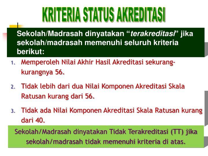 KRITERIA STATUS AKREDITASI