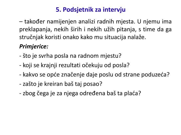 5. Podsjetnik za intervju