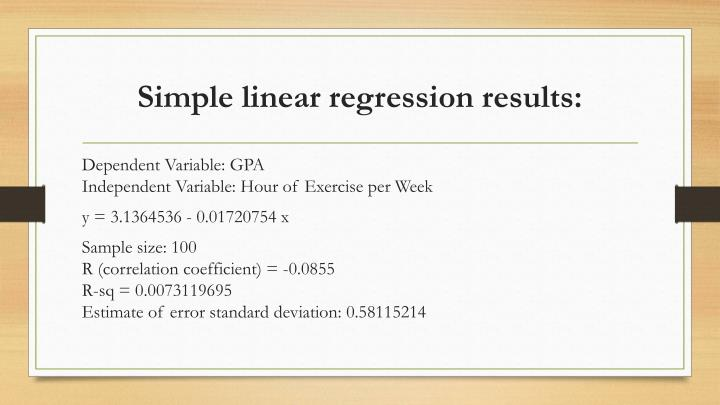 Simple linear regression results: