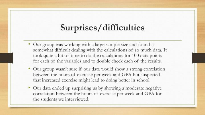Surprises/difficulties