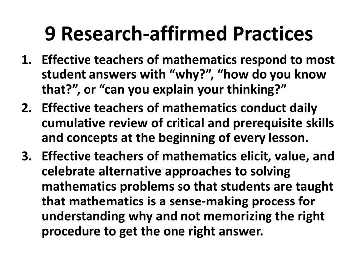 9 Research-affirmed Practices