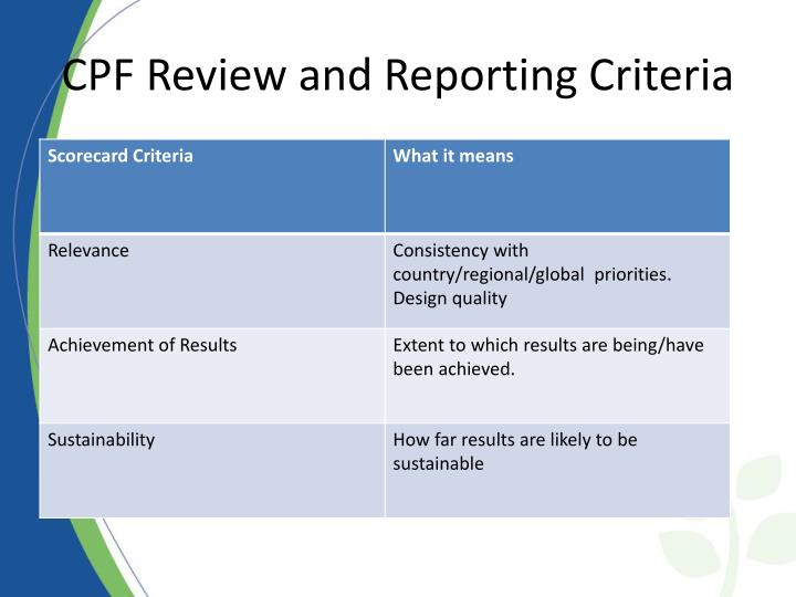 CPF Review and Reporting Criteria