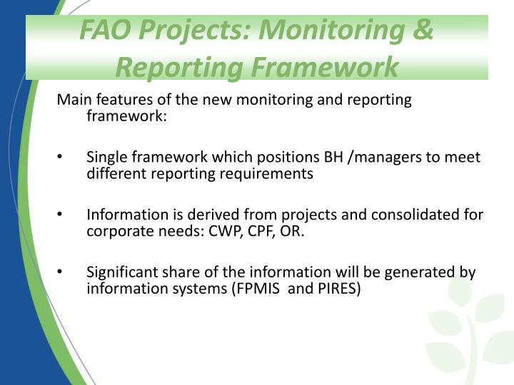 FAO Projects: Monitoring & Reporting Framework