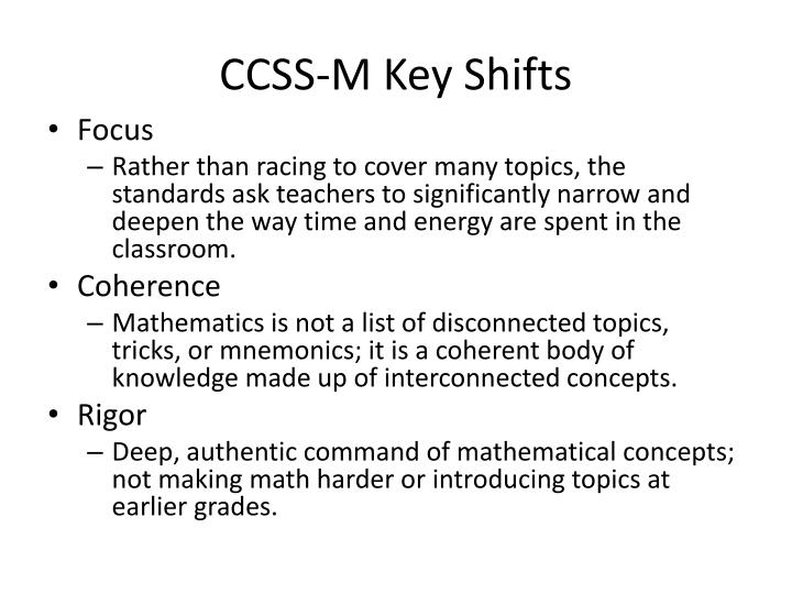 CCSS-M Key Shifts