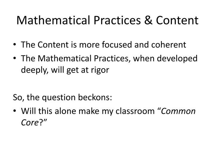 Mathematical Practices & Content