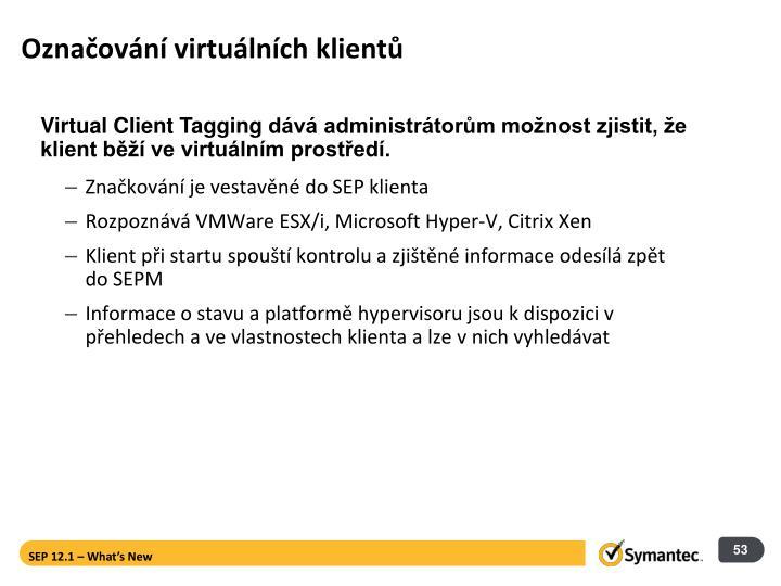 Označování virtuálních klientů