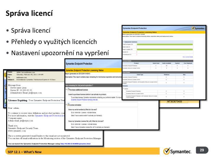 Správa licencí