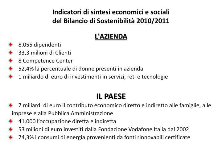 Indicatori di sintesi economici e sociali