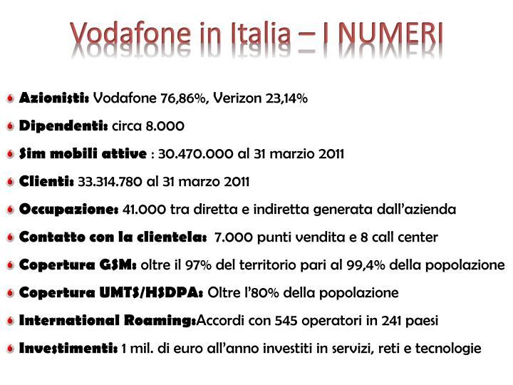 Vodafone in Italia – I NUMERI