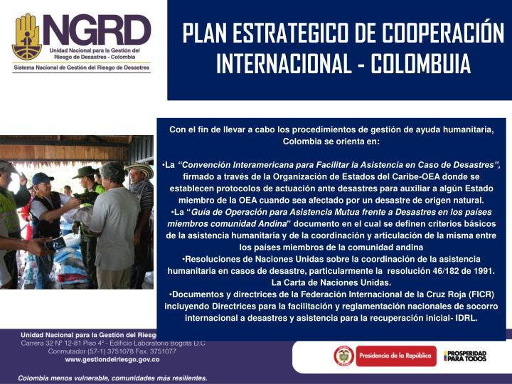 PLAN ESTRATEGICO DE COOPERACIÓN INTERNACIONAL - COLOMBUIA
