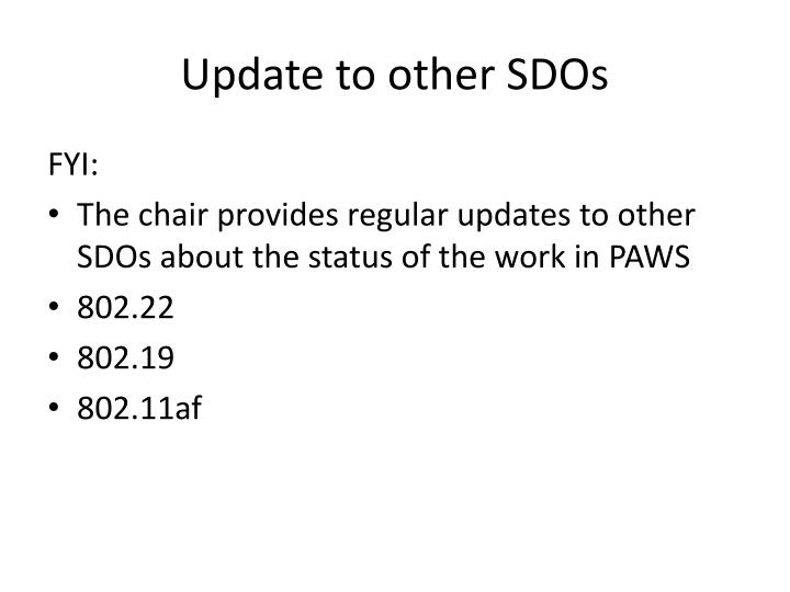 Update to other SDOs