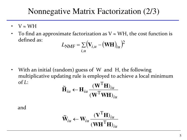 Nonnegative Matrix Factorization (2/3)