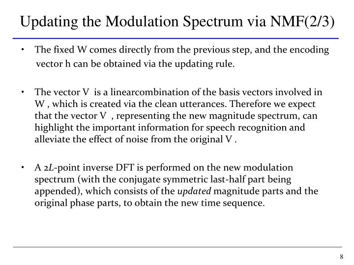 Updating the Modulation Spectrum via NMF(2/3)