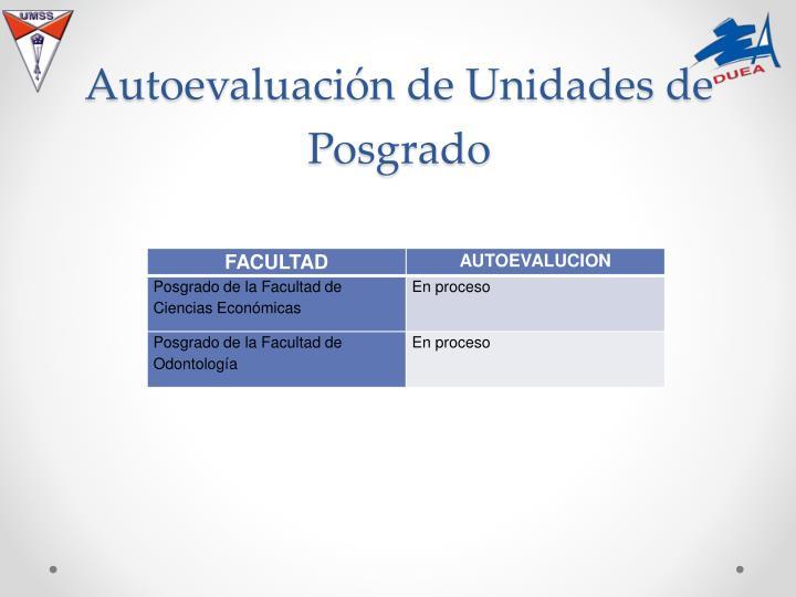 Autoevaluación de Unidades de Posgrado