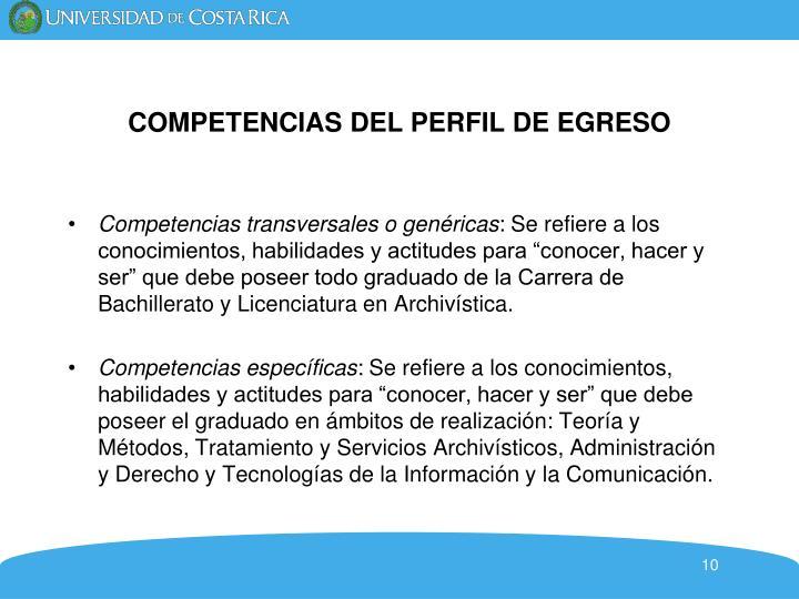 COMPETENCIAS DEL PERFIL DE EGRESO
