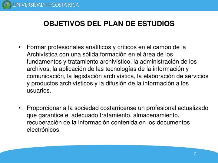 OBJETIVOS DEL PLAN DE ESTUDIOS