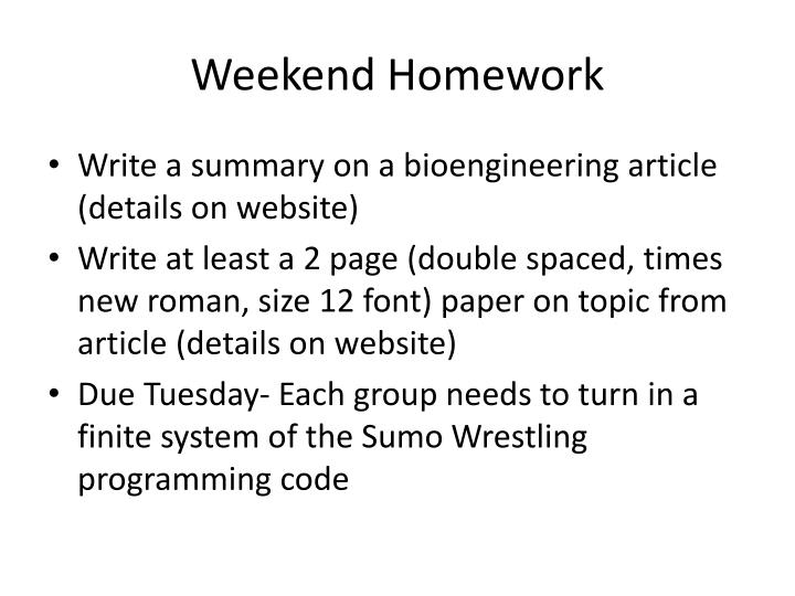 Weekend homework