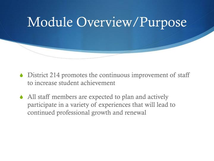Module Overview/Purpose