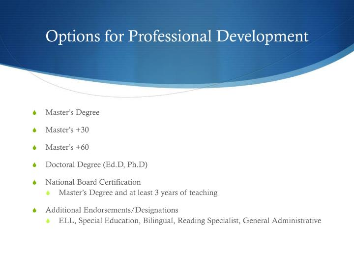 Options for Professional Development