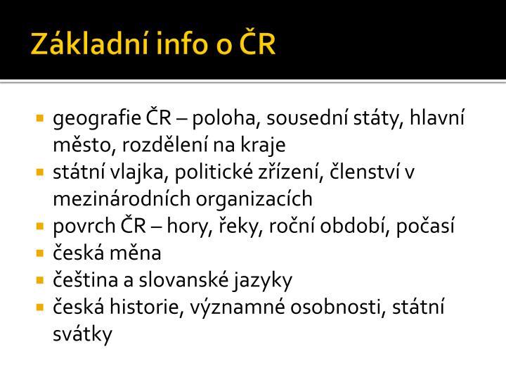 Základní info o ČR