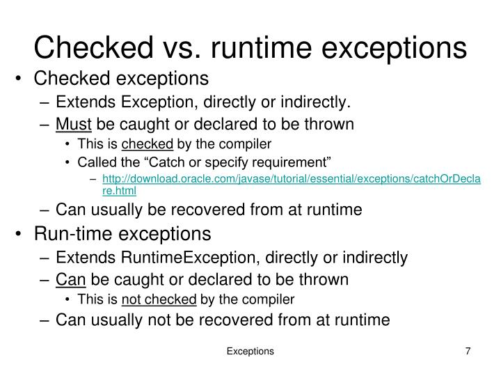 Checked vs. runtime exceptions