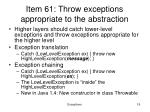 item 61 throw exceptions appropriate to the abstraction