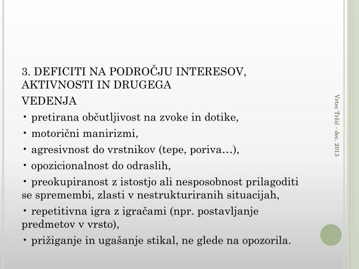3. DEFICITI NA PODROČJU INTERESOV, AKTIVNOSTI IN DRUGEGA