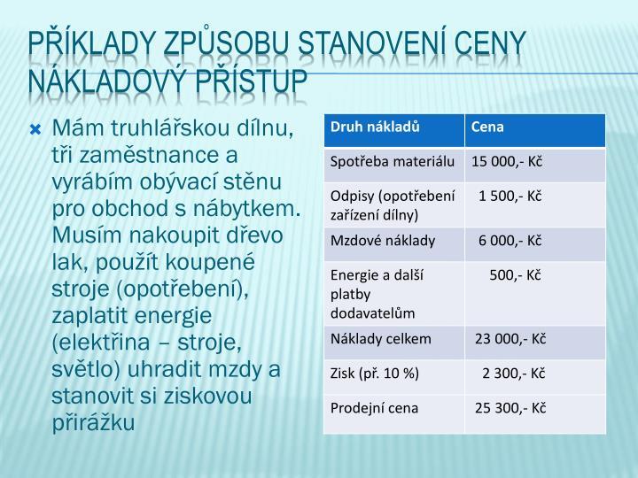 Příklady způsobu stanovení ceny