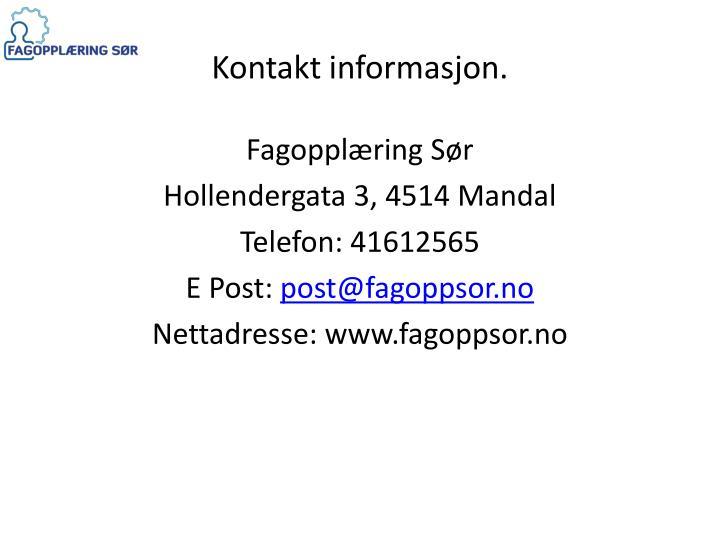 Kontakt informasjon.