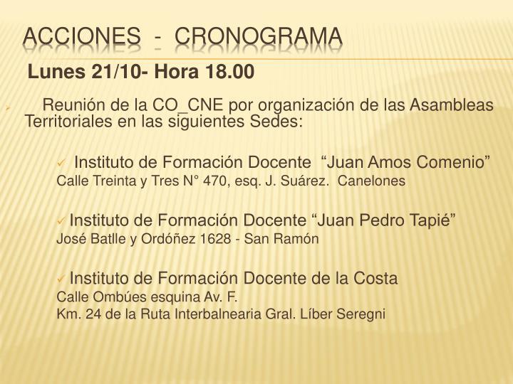 Lunes 21/10- Hora 18.00