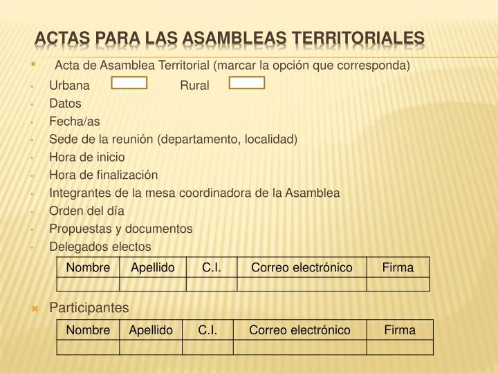 Acta de Asamblea Territorial (marcar la opción que corresponda)