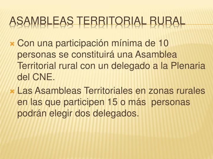 Con una participación mínima de 10 personas se constituirá una Asamblea Territorial rural con un delegado a la Plenaria del CNE.