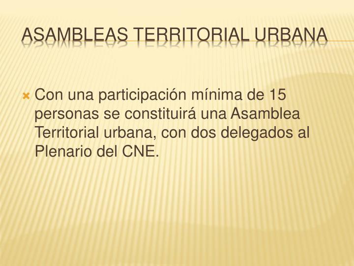 Con una participación mínima de 15 personas se constituirá una Asamblea Territorial urbana, con dos delegados al Plenario del CNE.