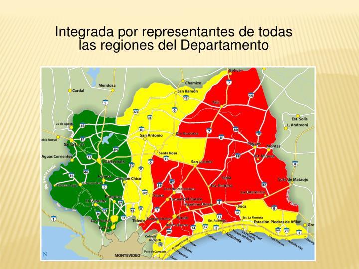 Integrada por representantes de todas las regiones del Departamento