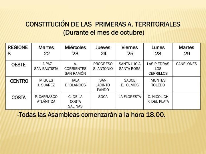 CONSTITUCIÓN DE LAS  PRIMERAS A. TERRITORIALES
