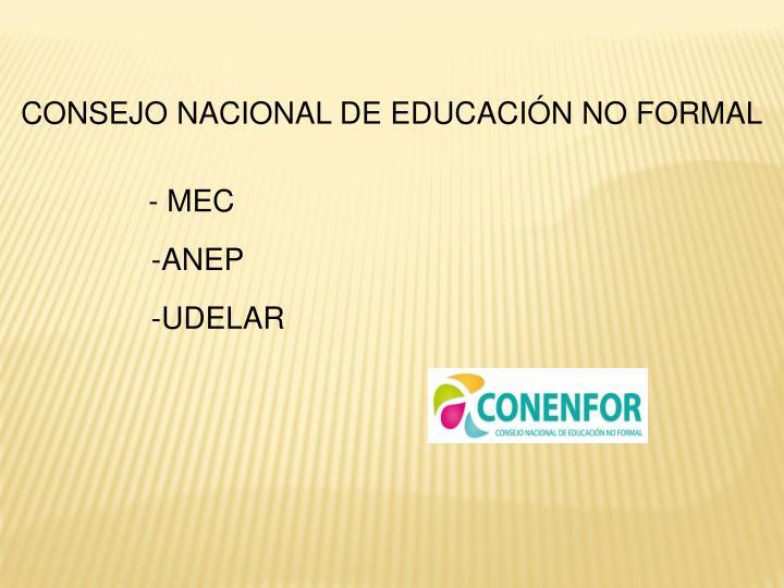 CONSEJO NACIONAL DE EDUCACIÓN NO FORMAL