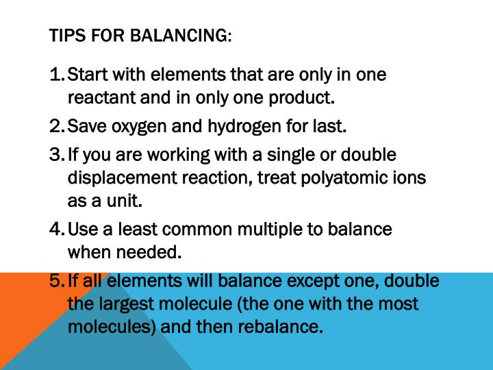 Tips for balancing: