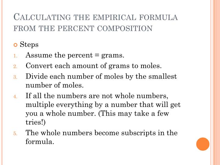 Calculating the empirical formula from the percent composition