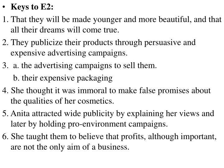 Keys to E2: