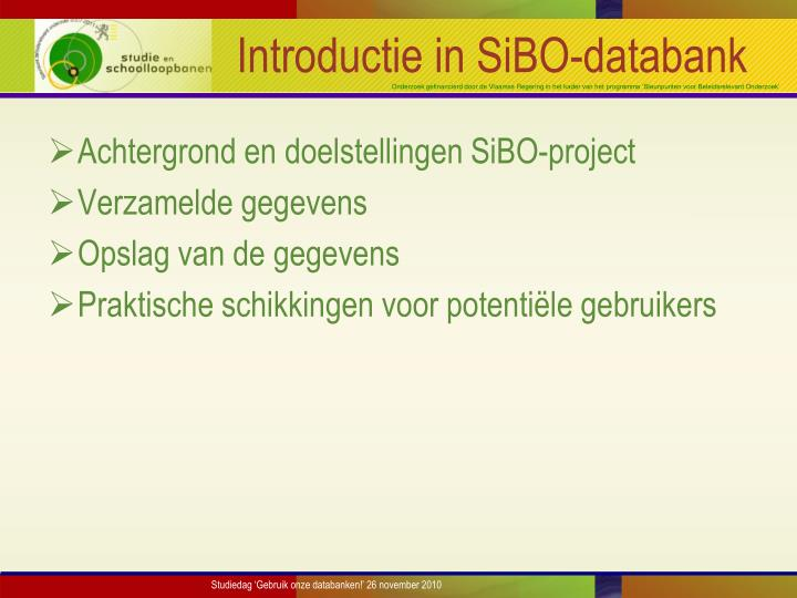 Introductie in sibo databank