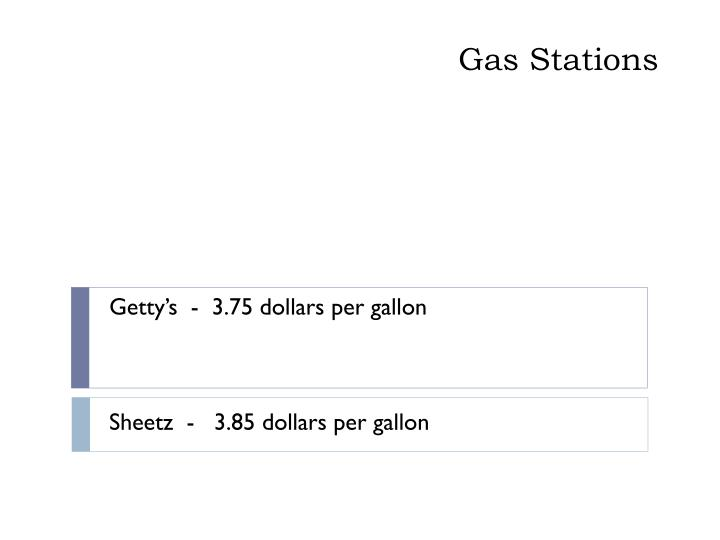 Getty's  -  3.75 dollars per gallon