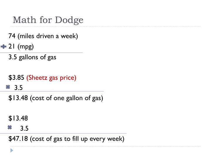 Math for Dodge