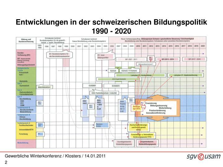 Entwicklungen in der schweizerischen Bildungspolitik 1990 - 2020