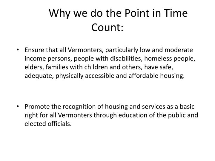 Why we do the point in time count
